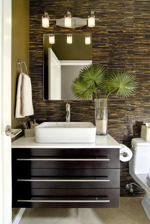 The Awesome Web Modern guest bathroom with glass tile backsplash by B uD uG Design Group