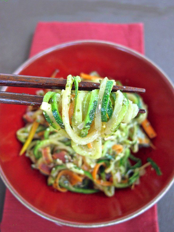 10 Recipes for Zoodles (Zucchini Noodles!), including this recipe for Zucchini Noodles with Seaweed Pesto