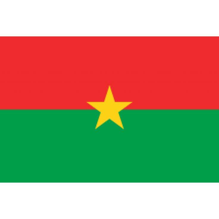 vlag Burkina Faso, Burkinese vlaggen 100x150cm De vlag van Burkina Faso bestaat uit twee gelijke horizontale banden in de kleuren rood (boven) en groen met in het midden een gele vijfpuntige ster. Burkina Faso gebruikt deze vlag sinds 4 augustus 1984. De kleuren groen, rood en geel zijn de Pan-Afrikaanse kleuren