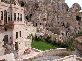 Caves of Cappadocia : Urgup, Turkey    Looking for a historic hotel? Look no further than the Yunak Evleri Hotel in Turkey's Cappadocia. Once an ancient monastery, these carefully restored historical dwelling and underground tunnels are filled with the magic and mystery of Turkey's ancient culture. reserve your place in history today - we know we will.