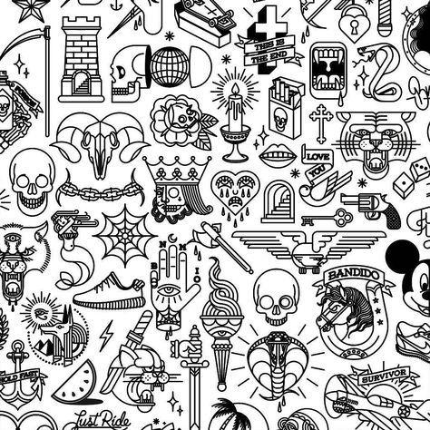 Flash tattoo doodles