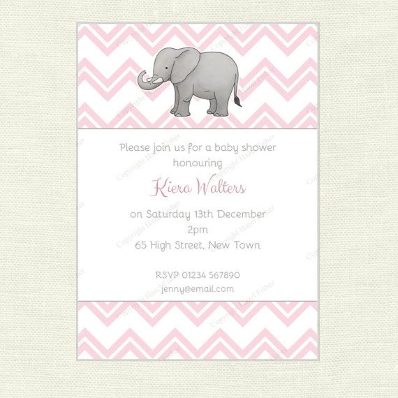 Elephant and Pastel Chevron Invitation.  Printable invite for baby showers or birthday parties by hfcSupplies on Etsy. Choice of 3 colour schemes: pink, blue or mint.  The invitation comes customised with your choice of wording.