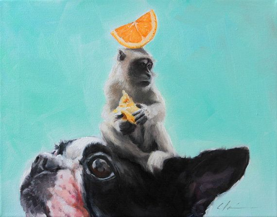 Weekend Sale   Humorous Quirky Boston Terrier Monkey by hartart13, $235.00