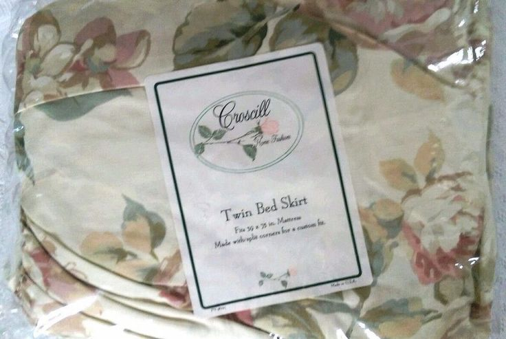 Croscill Dickens Pleated Twin Dust Ruffle Bed Skirt Ivory Pink Green Gold Blue #Croscill #Cottage