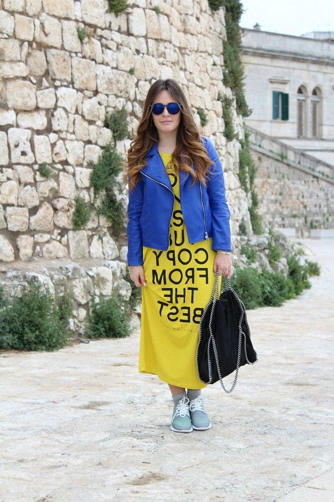 Long yellow dress & leather jacket