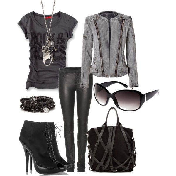Black & Grey Outfit, created by thebeautyinsiders on PolyvoreEdgy Grey, Fashion, Outfit Sets, Grey And Black Outfit Casual, Grey Outfit, Black Grey, Rocks Style, Outfits Black Gray, Hot Outfit