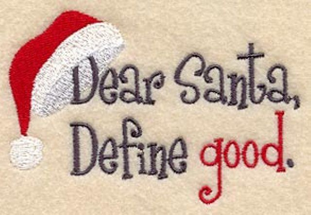 This would be cute on the reverse side of a stocking. You could switch it depending on how things are going...