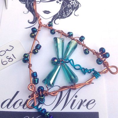 doinWire-DOW681 Pendant copper triangle wrapped with metallic beads, peacock blue tone wire dragonfly with emerald cone beads and metallic bead dangler.