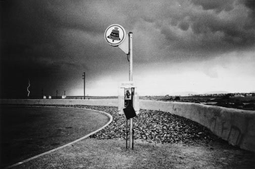 "Ikko NARAHARA :: Highway Telephone, Lightning, New Mexico from ""Where Time Has Vanished"", 1972"