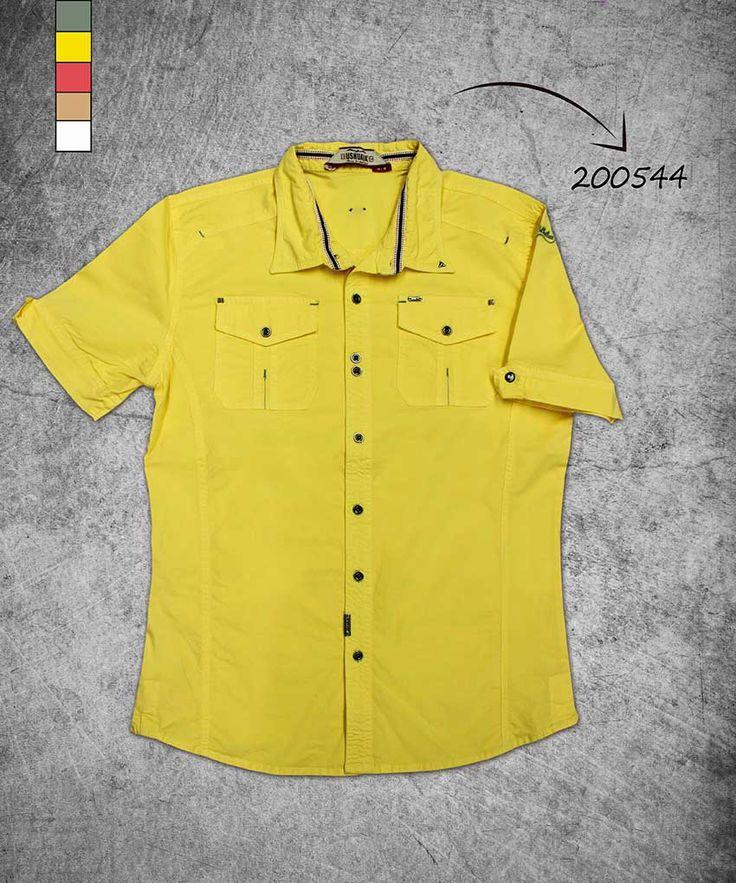camisa-hombre-manga-corta-color amarillo-men-shirt-short-sleve-yellow-color-200544