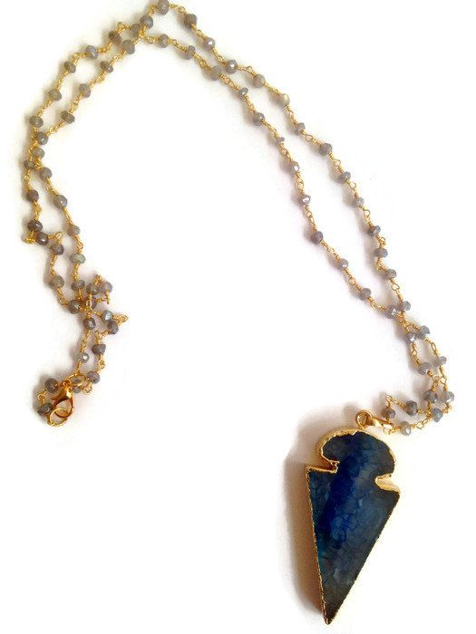 Agate Arrowhead Pendant on Rosary Chain