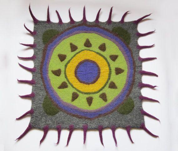 Felt Rug, Rug Natural, Wool Rug, Modern Décor, Geek Décor, Mexican Décor,  Purple Green Grey, Blue Yellow Lime, Square Rug, Gift For Men