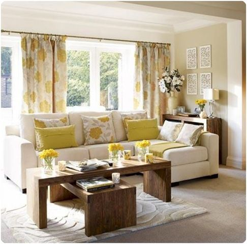 good example of neutrals with a pop of yellow - very easy to change out pillows and accessories when you don't complicate!