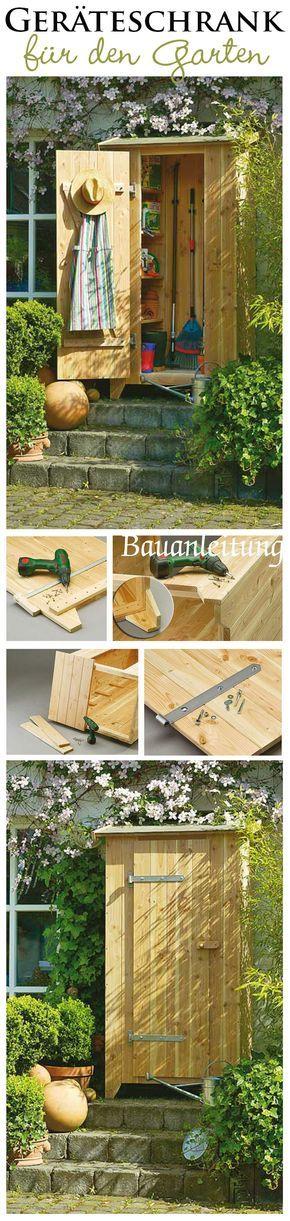 In einem Geräteschrank kann man Rechen, leere Pflanztöpfe und Co. perfekt verstauen. Wir zeigen Schritt für Schritt, wie man den praktischen Schrank aus Holz für den Garten selbst baut.