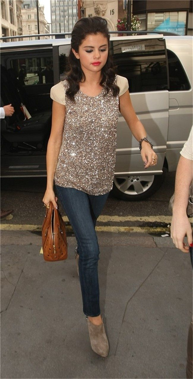 sequined top and jeans