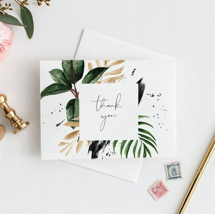 Editable Tropical thank you card Template thank you card Printable Monstera Wedding Cards Palm Leaf Editable thank you card Banana Leaf 119