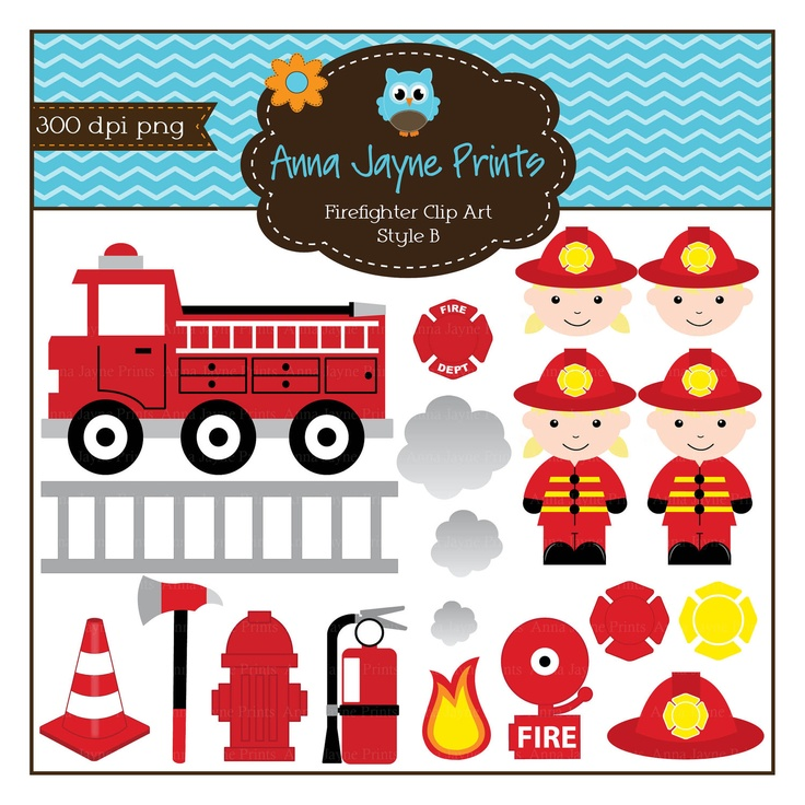 Firefighter Clipart - Fire - Fire Man - Fire Fighter - Fire Engine - Fire Truck - Digital - Personal - Commercial Use Style B. $5.00, via Etsy.