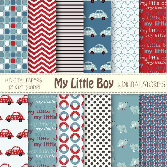 Bebé niño Digital papel Coches Cheurón azul rojo por DigitalStories, €2.60