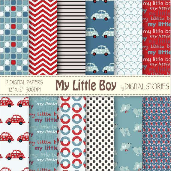 Baby Boy Digital Paper MY LITTLE BOY red blue by DigitalStories  https://www.etsy.com/listing/127866849/baby-boy-digital-paper-my-little-boy-red?ref=shop_home_active_6