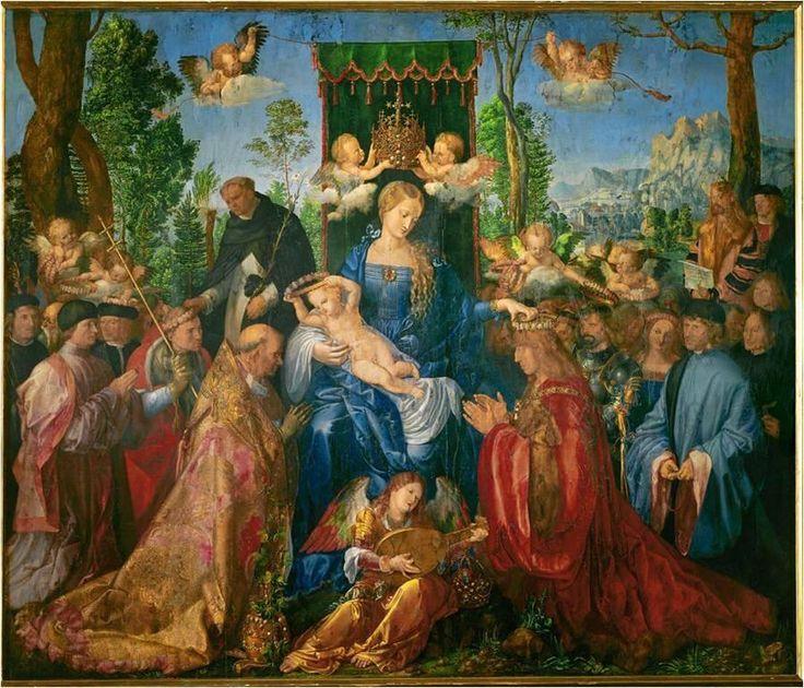 Virgen del Rosario-- Durero 21de4baf0cf8c19627988331f9ff267d--albrecht-durer-national-gallery