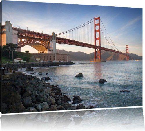 Cool Golden Gate Bridge San Francisco USA Bild auf Leinwand XXL riesige Bilder fertig gerahmt mit