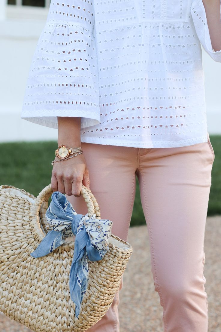 ca23c41729e02 Straw bag - spring style trend. Blush pink pants outfit. Spring outfit idea.
