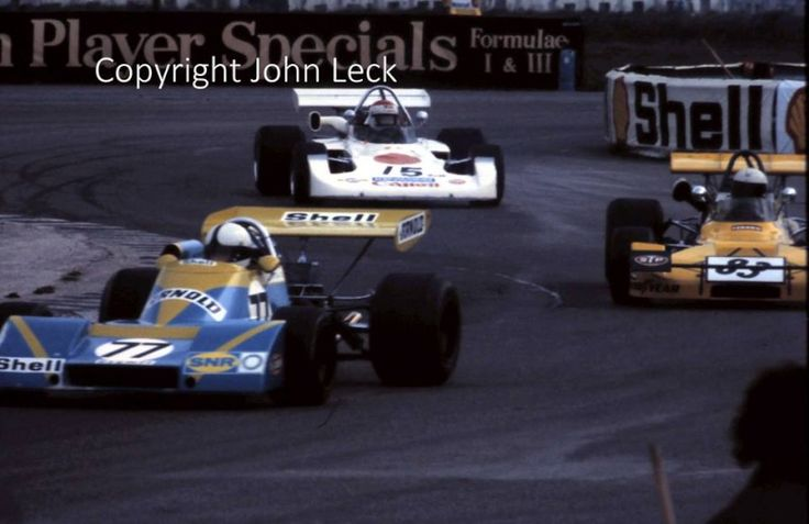 "(77) Patrick Dal Bo - Pygmée MDB18 Cosworth BDA - Shell Arnold Team - (83) Johnny Blades - Lotus 69 Cosworth BDA - Johnny Blades - (15) Tetsu Ikuzawa - GRD 273 Cosworth BDA - GRS International / Team Nippon - XXVIII B.A.R.C. ""200"" 1973 - III Jochen Rindt Memorial Trophy"