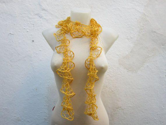 Yellow Crochet  Scarf Fall Fashion Frilly scarf by scarfnurlu