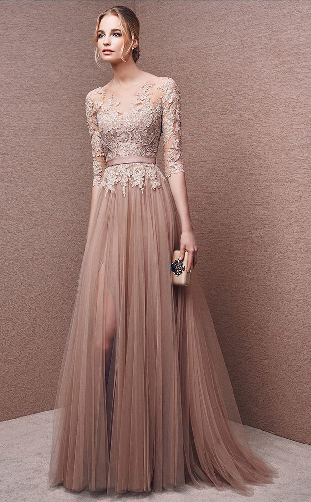 Wholesale Price 3/4 Length Sleeve Bateau Tulle Lace Long A-line Evening Dresses…