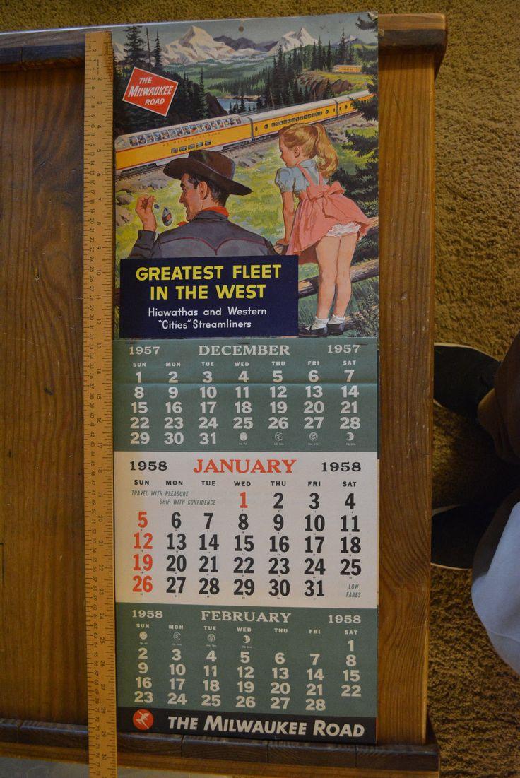 1958 Milwaukee Road Railroad Wall Calendar Full Year   eBay