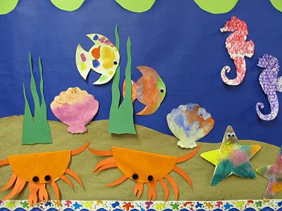 www.rainbowswithinreach.blogspot.com- Could decorate a fish or sea creature every day and add to a larger mural.