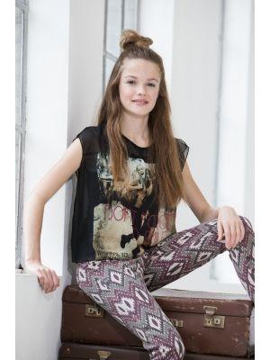 Geisha jeans Tregging, etnische print  Te koop bij www.koflo.nl. Kids summer fashion. Kids fashion 2014. Kinderkleding.