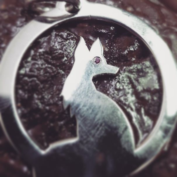 Our new bespoke jewelry order is almost there #fox #silver #gold #pendant with a #tiny #ruby