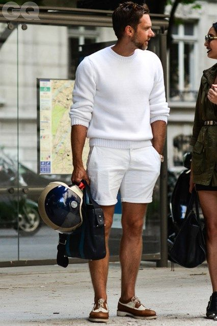 Shop this look on Lookastic:  http://lookastic.com/men/looks/white-crew-neck-sweater-white-shorts-navy-briefcase-brown-brogues/10421  — White Crew-neck Sweater  — White Shorts  — Navy Leather Briefcase  — Brown Leather Brogues