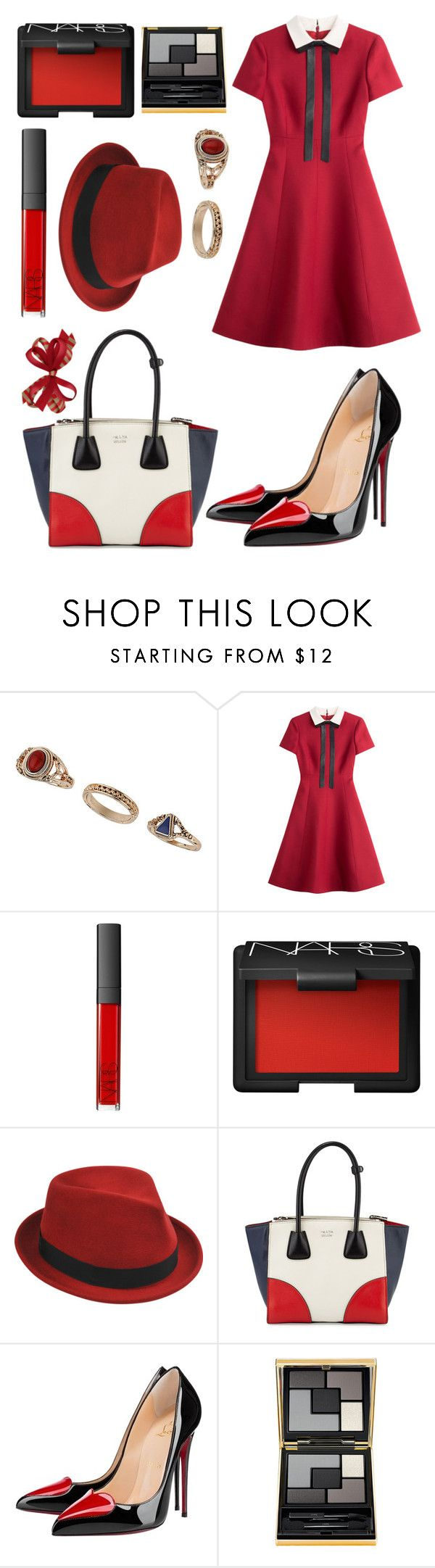 """""""Untitled 383"""" by cattstyles-delenfent ❤ liked on Polyvore featuring Miss Selfridge, Valentino, NARS Cosmetics, Stetson, Prada, Christian Louboutin, Yves Saint Laurent, women's clothing, women and female"""