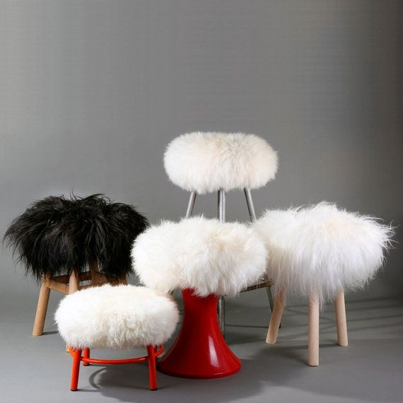 Upgrate your stool! Pure sheepskin adjustable stool cover from Zuba Homely! Different sizes, shapes and colors!