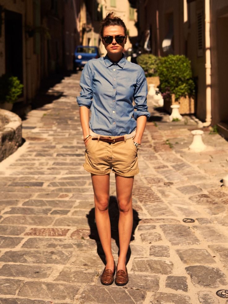 button up, chinos, oxfords, wayfarersSummer Looks, Summer Outfit, Summer Style, Denim Shirts, Tomboys Style, House Scotch, Scotch Soda, Summer Clothing, Khakis Shorts