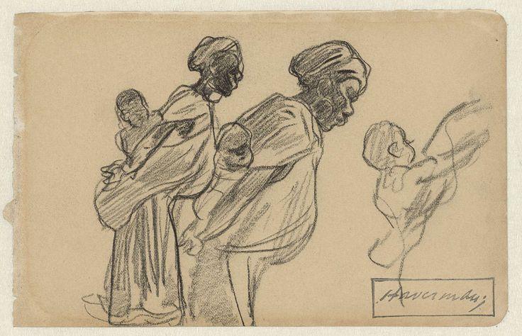 Twee Afrikaanse vrouwen met hun kinderen op de rug, Hendrik Johannes Haverman, 1867 - 1928