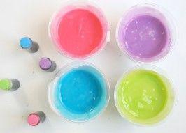 Homemade edible finger paint from Momtastic