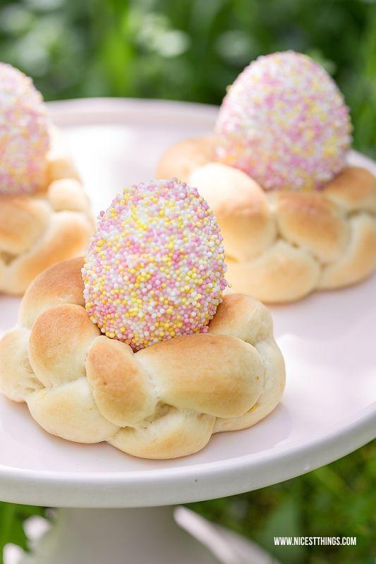 Ostereier dekorieren mit Nonpareille Zuckerperlen & Hefenester