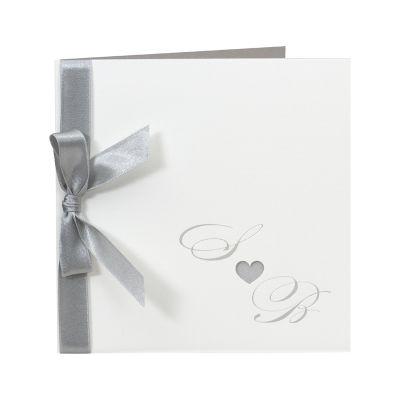 Stijlvolle witte kaart met zilveren hartje + lint (104.057)