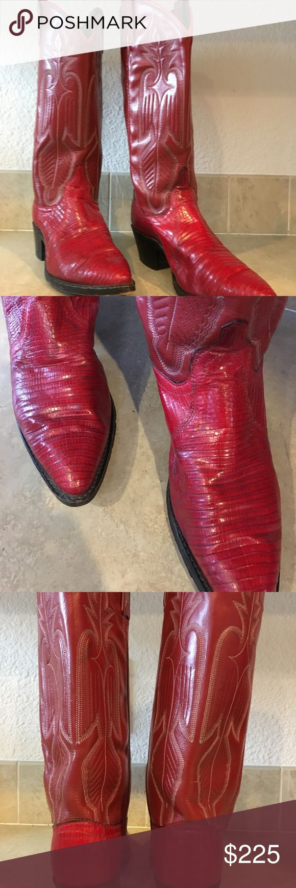Women's Red Dan Post Boots Women's size 7 medium, if you have a narrow foot 7 1/2 could fit. Worn only twice.  Cash only no negotiators these boots sold for $350 and they are lovely and in pristine condition.  Selling for $225 plus shipping Call or text 707-7 nine9-zero723 Dan Post Shoes Heeled Boots