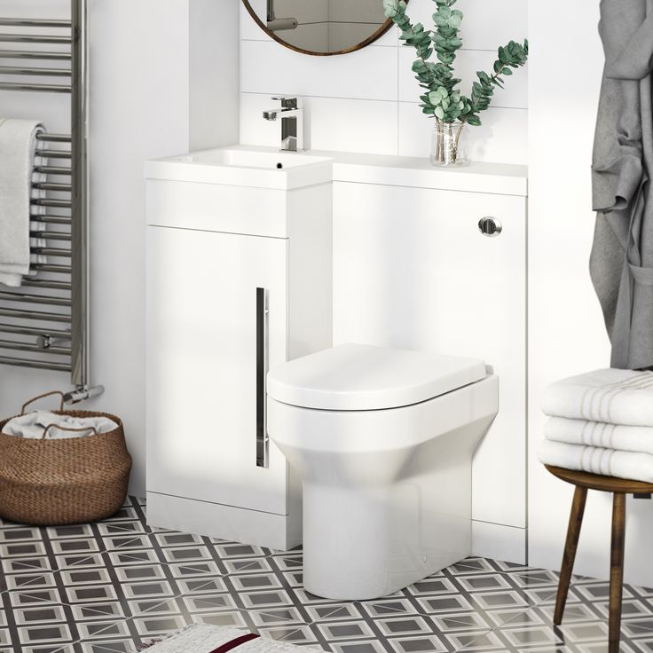 Small bathrooms or cloakrooms can often be a real headache, especially when you need to squeeze in a toilet, basin and somewhere to store your essentials. That's where this clever combination unit with Energy Back to Wall Toilet from our MySpace range comes into its own