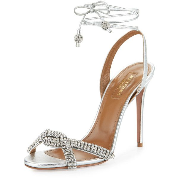 Aquazzura Dazzling Crystal Ankle-Wrap 105mm Sandal (18.403.505 IDR) ❤ liked on Polyvore featuring shoes, sandals, silver, high heel sandals, ankle strap high heel sandals, strappy sandals, metallic sandals and ankle tie sandals