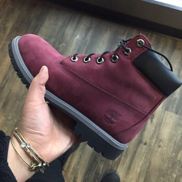 shoes red boots maroon/burgundy timberlands boots timbs timberlands