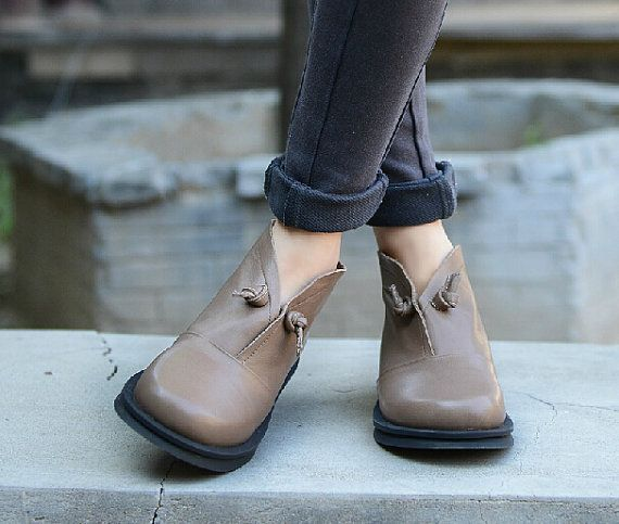 Handmade Flat Shoes for Women Casual Shoes Soft by HerHis on Etsy