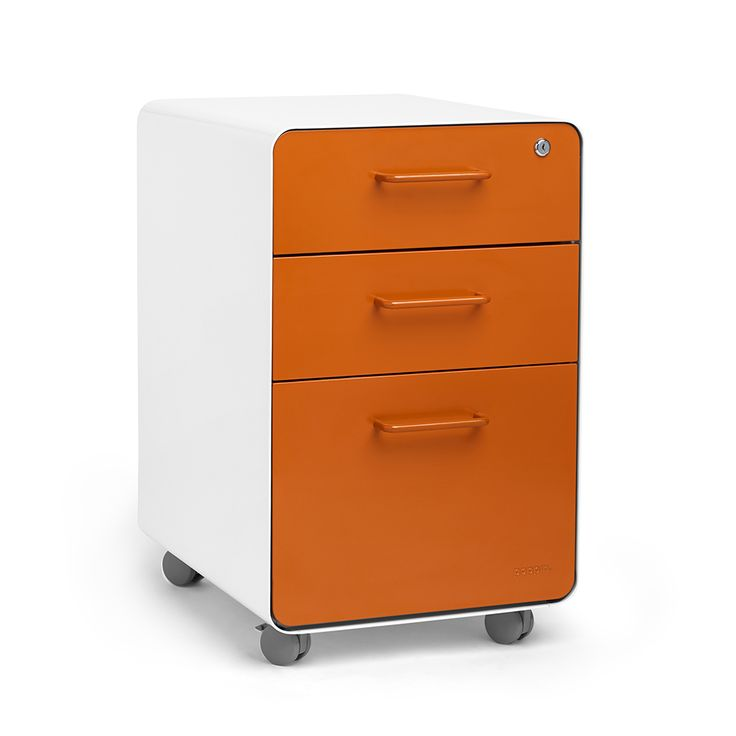 Superb White + Orange Stow 3 Drawer File Cabinet, Rolling, Fully Loaded,Orange