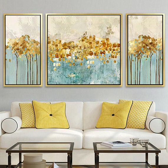 Set Of 3 Wall Art Original Gold Art Framed Painting Abstract Etsy Gold Abstract Painting Abstract Painting Acrylic Acrylic Painting Canvas