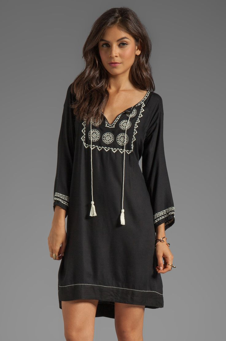 Soft Joie Chauncey Embroidered Dress in Caviar/Vanilla from REVOLVEclothing