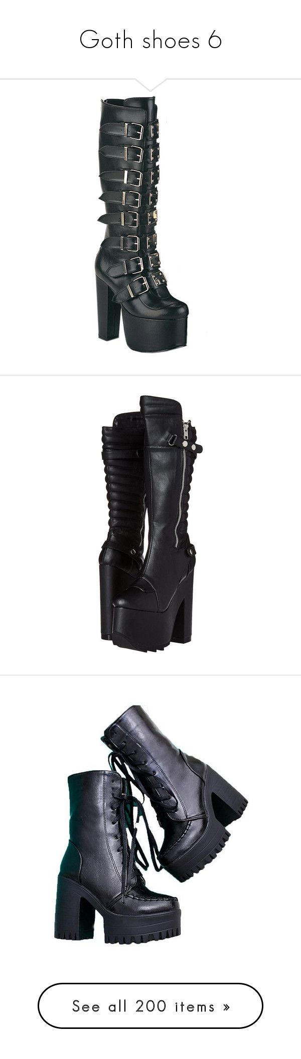 """""""Goth shoes 6"""" by morbid-octobur ❤ liked on Polyvore featuring shoes, boots, heels, heeled boots, buckle boots, leather buckle boots, wide width shoes, demonia, knee-length boots and knee-high boots"""